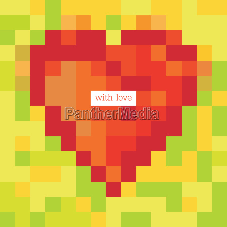 pixel heart with greetings design template