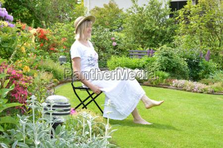 woman in the summer garden