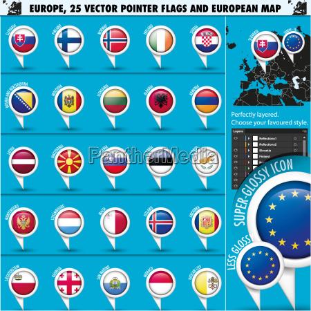 iconos europeos indicadores redondos indicadores y