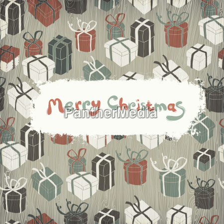 christmas gifts on wooden texture vector