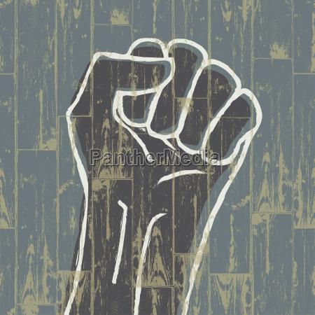 fist revolution symbol grunge eps10