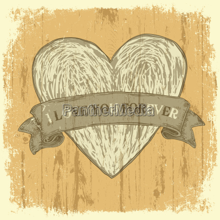 grunge heart with ribbon vintage background