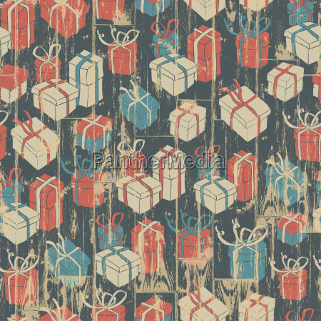 christmas seamless background with gifts pattern