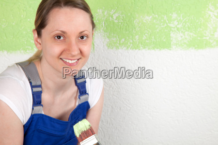 laughing woman with brush