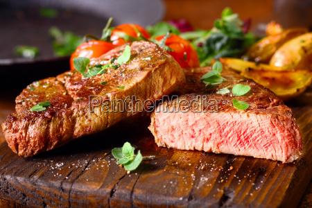 delicious portion of medium rare beef