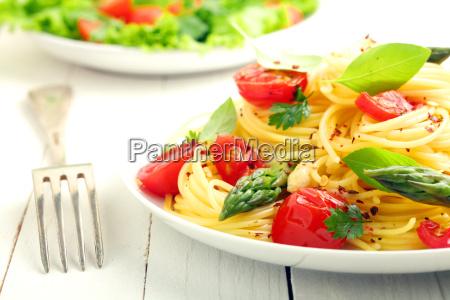 coiled spaghetti mit tomaten und basilikum