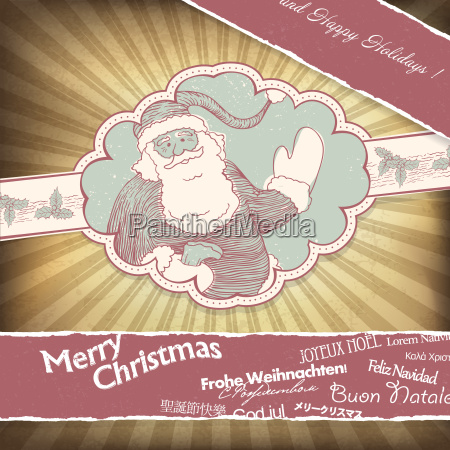 retro santa claus greetings in different