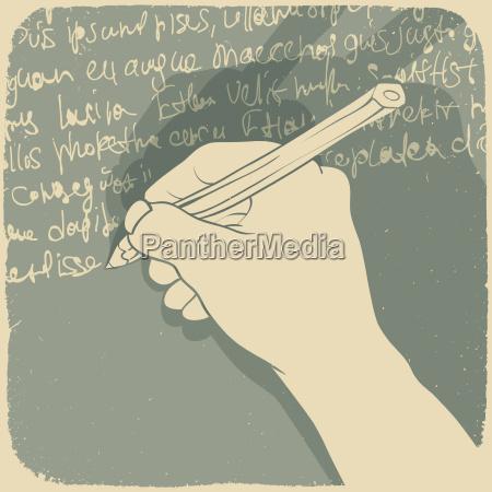 vektor illustration einer hand schriftlich
