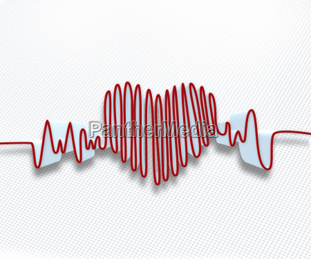 red heart rate waveform on white