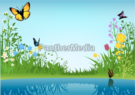 nature summer spring landscape backgrounds vector
