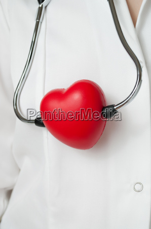 physician with red heart