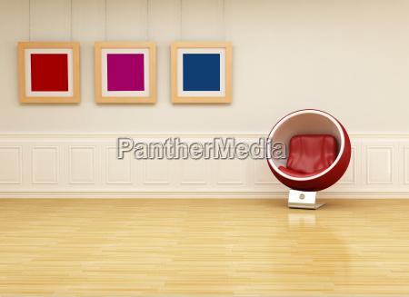 ball chair in einem klassischen wohnzimmer