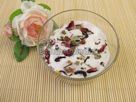 homemade milk bath with flowers