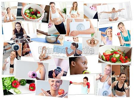 collage von fotos illustriert eine gesunde