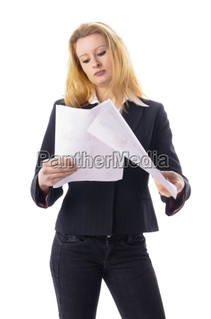business girl reads a note