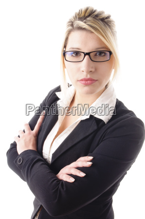 young business woman looking happy