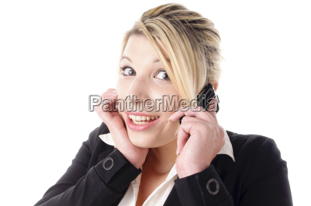young woman phoning and laughs