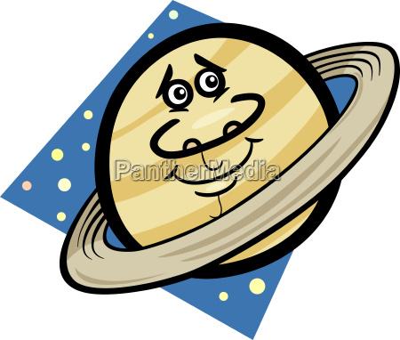 funny saturn planet cartoon illustration