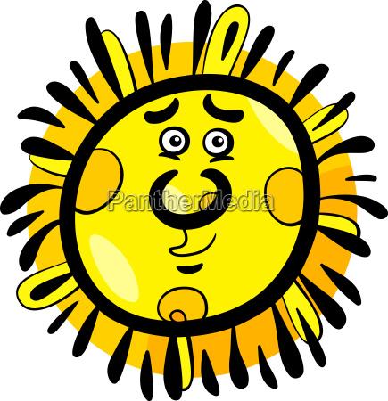 funny sun cartoon illustration