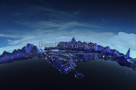 blau einzel berge horizont space grafik