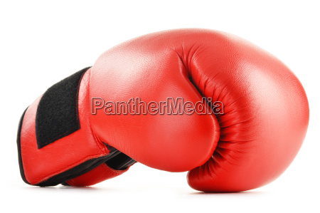 pair of red leather boxing gloves