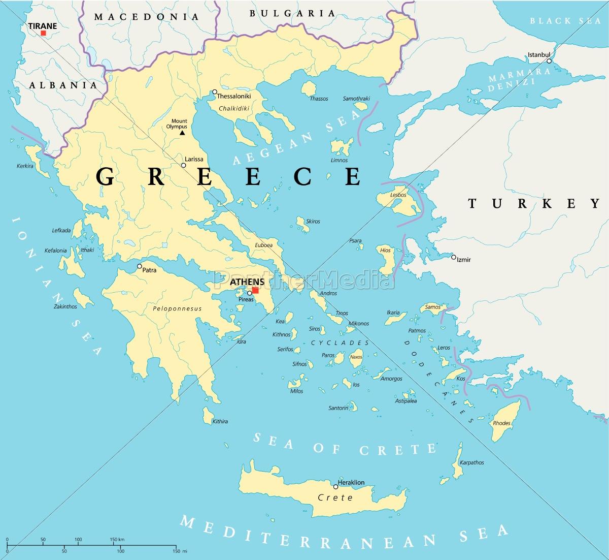 Karte Griechenland.Lizenzfreie Vektorgrafik 9564644 Griechenland Politische Karte