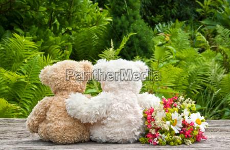 flowers red green teddy bear teddy