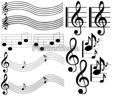musiknoten und zeichen freigestellte vektorgrafiken