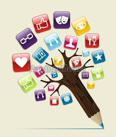 albero di matita concetto di social