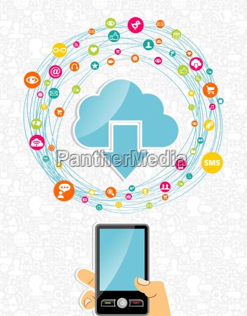 mobile cloud computing network concept