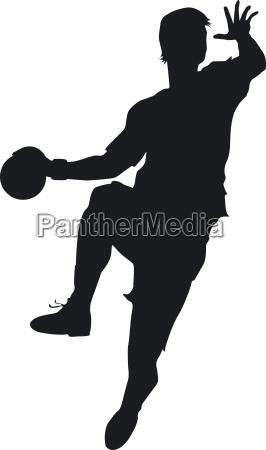ein handballer beim sprungwurf