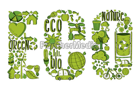 word eco with environmental icons