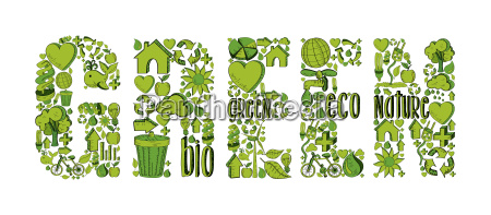 green word with environmental icons