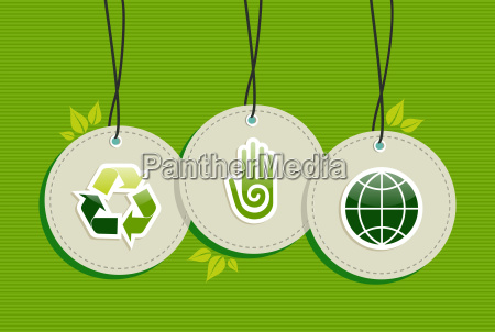 hanging green recycle planet earth icons