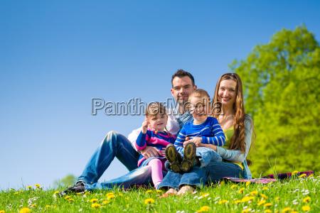 glueckliche familie sitzt auf sommer wiese