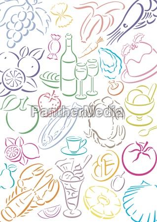 hintergrund mit food symbolen freigestellte