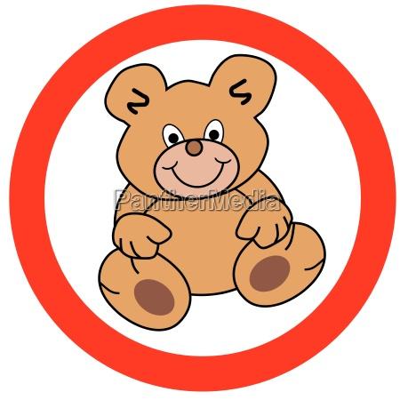 rundes verkehrszeichen mit teddy freigestellte