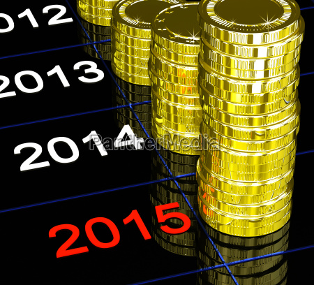 muenzen auf 2015 finanzielle visionen zeigend