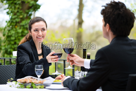 business people eating in a restaurant