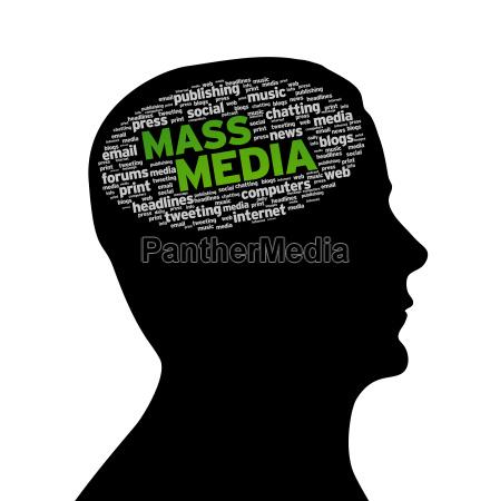 silhouette kopf mass media