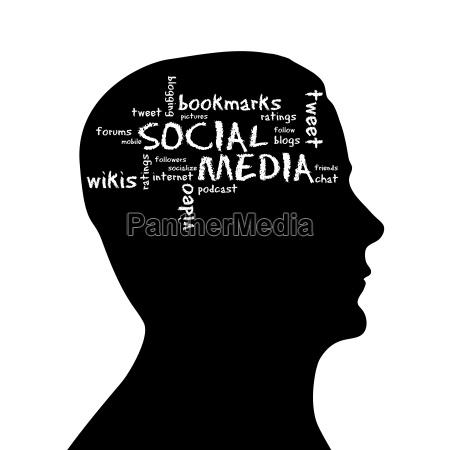 silhouette kopf social media