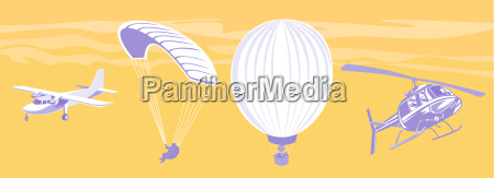 airplane parachute hot air balloon helicopter