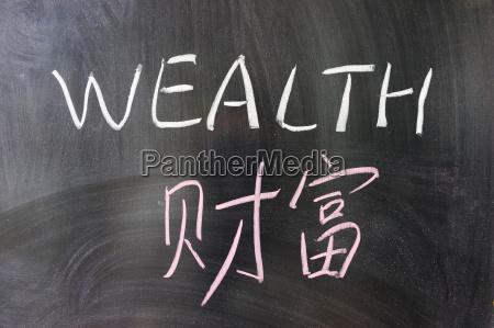 wealth wort in chinesisch und englisch