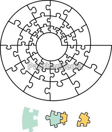 einzel raetsel spirale alleinstehend puzzle teile
