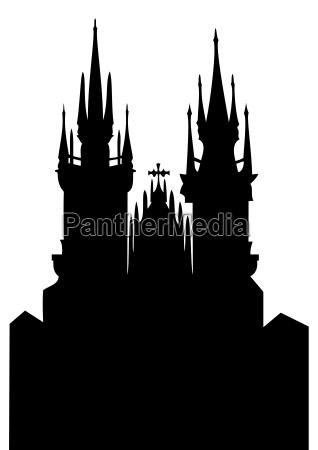 kirche der muttergottes vor tyn vektor
