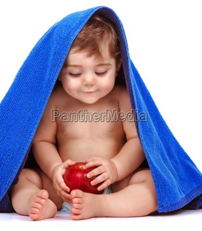 happy child with fresh fruit