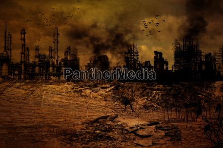hintergrund zerstoerte stadt
