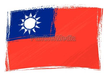 grunge taiwan flagge