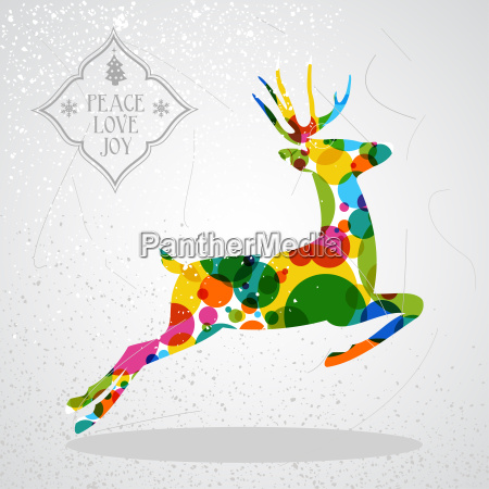 merry christmas colorful reindeer shape