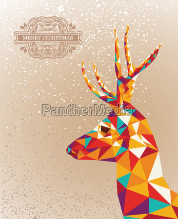merry christmas colorful reindeer shape background